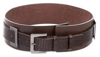 Max Mara Leather & Embossed Leather Belt
