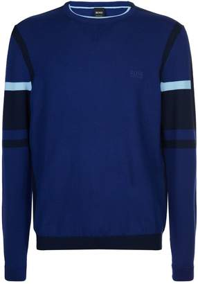 BOSS GREEN Crew Neck Colour Block Sweater