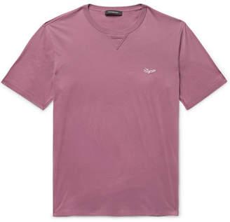 Ermenegildo Zegna Logo-Embroidered Cotton-Jersey T-Shirt - Grape