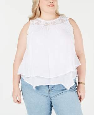Style&Co. Style & Co Plus Size Lace-Yoke Crochet-Trim Tiered Top, Created for Macy's