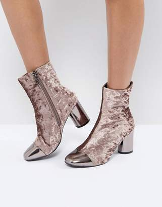 Morgan Allover Velvet Boots With Metal Toe Cap Detail