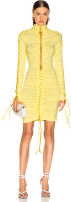 Unravel Stretch V Lace Up Dress in Yellow | FWRD