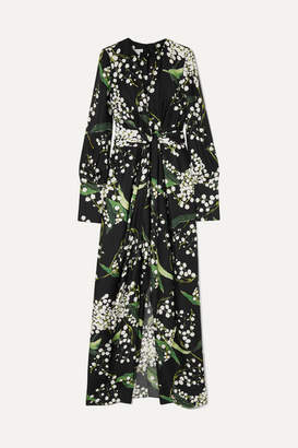 Oscar de la Renta Draped Floral-print Silk-twill Maxi Dress - Black