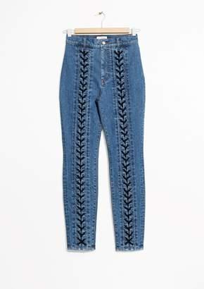 Lace-Up Denim Jeans
