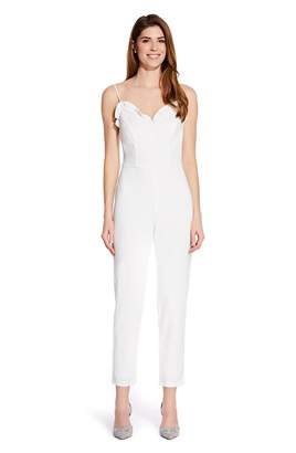 Adrianna Papell Womens White Knit Crepe Ruffled Jumpsuit - White