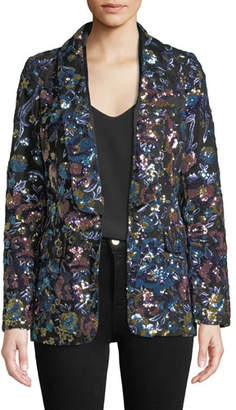 Self-Portrait Floral Sequin Single-Button Jacket
