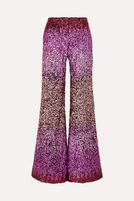 Halpern Dégradé Sequined Tulle Flared Pants - Pink