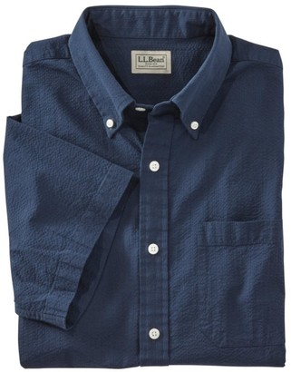 L.L. Bean L.L.Bean Men's Seersucker Shirt, Traditional Fit Short-Sleeve Stripe