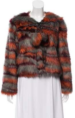 Ramy Brook Striped Faux Fur Jacket