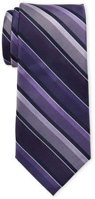 Isaac Mizrahi Navy & Purple Stripe Silk Tie