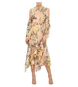 Nicholas Aveline Cold Shoulder Midi Dress