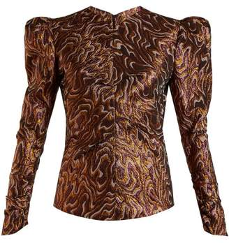 Isabel Marant Sean Puff Shoulder Jacquard Lurex Top - Womens - Brown Multi