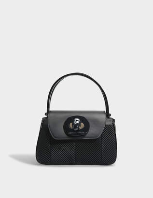 Giorgio Armani Musa Bag in Black Nappa Pleated Leather