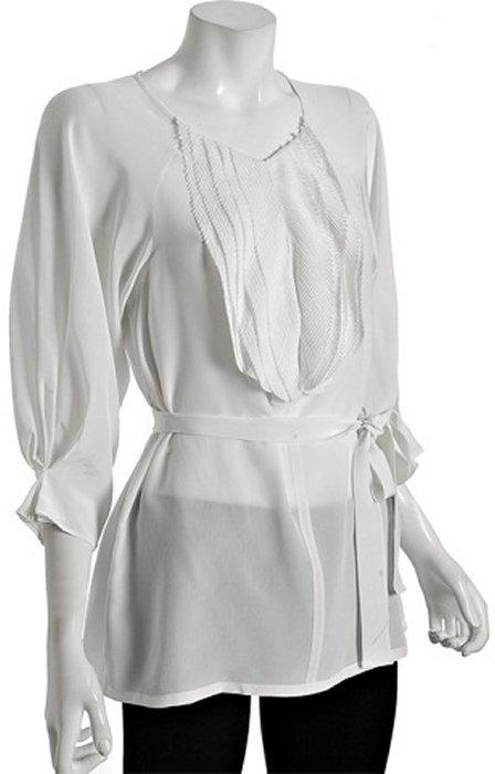 Ali Ro oxygen silk ruffle detail belted tunic