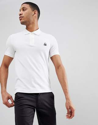 Benetton Muscle Fit Polo In White