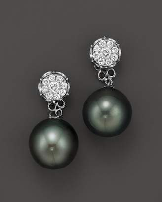 Bloomingdale's Cultured Tahitian Pearl Two Piece Earring with Diamonds in 18K White Gold, 11mm