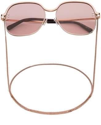 Stella McCartney Eyewear Pink square metal sunglasses with chain