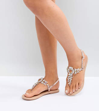 Asos Design DESIGN Wide Fit Fairlight leather embellished flat sandals