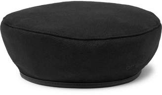 Off-White Faux Patent Leather-Trimmed Wool-Blend Felt Beret