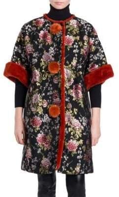 Dolce & Gabbana Mink Trimmed Jacquard Coat