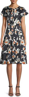 St. John Modern Floral Hammered Satin Silk Self-Tie Neck Dress