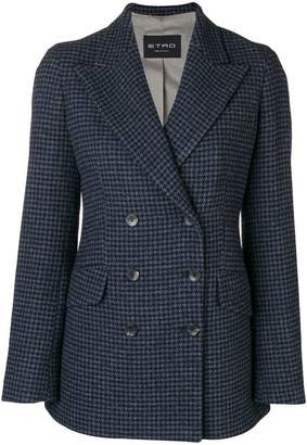 Etro double-breasted houndstooth blazer