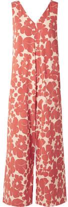 Hatch Alba Floral-print Crepe Jumpsuit - Brick