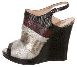 Dries Van Noten Embossed Leather Wedges