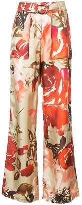 By. Bonnie Young High-rise Rose Print Trousers