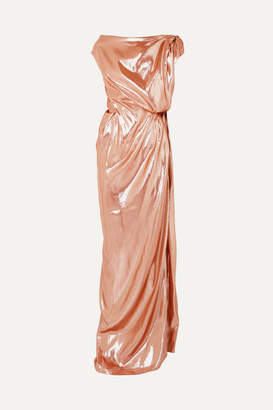 Roland Mouret Draped Silk-blend Lamé Gown - Blush