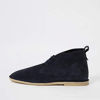 River Island Navy suede lace-up desert boots