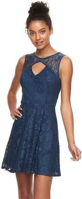 Trixxi Juniors' Cutout Front Lace Skater Dress