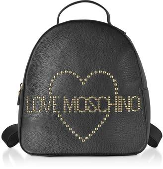 Love Moschino Black Leather Backpack w/ Golden Studs