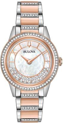 Bulova Women's Two-Tone Crystal TurnStyle Bracelet Watch