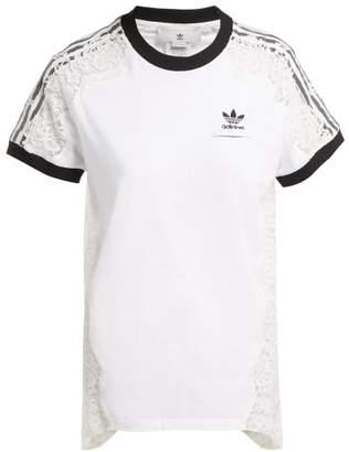 b80aecff34a Stella McCartney Logo Embroidered Lace Insert Cotton Blend T Shirt - Womens  - White