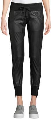 Blanc Noir Faux-Leather Drawstring Jogger Pants