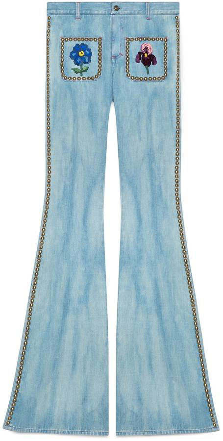Gucci Embroidered denim pant with studs