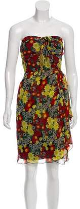 Anna Sui Strapless Floral Print Dress