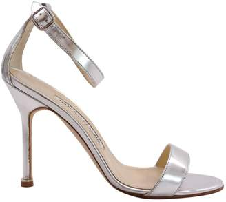 Manolo Blahnik Silver Leather Heels