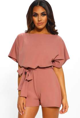 59df330819 Pink Boutique Over The Top Rose Pink Belted Playsuit