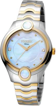 Ferré Milano Women's White Mother-Of-Pearl Dial with Two Tone Stainless-Steel Band Watch.