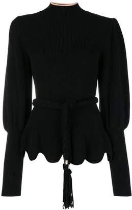 Elisabetta Franchi belted roll neck sweater