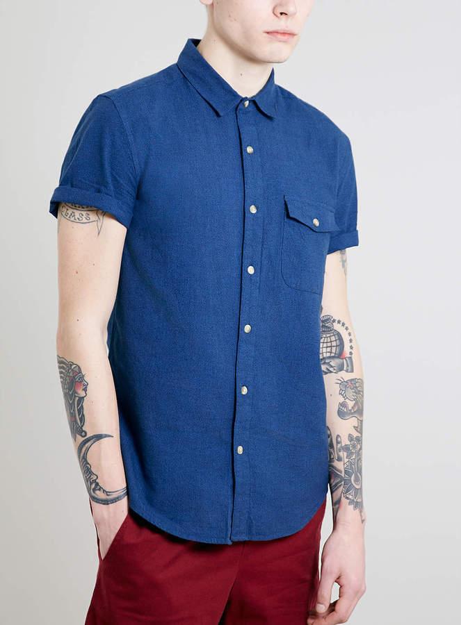 Topman Blue Twisted Yarn Short Sleeve Shirt
