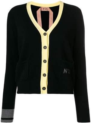 No.21 contrast trim V-neck cardigan
