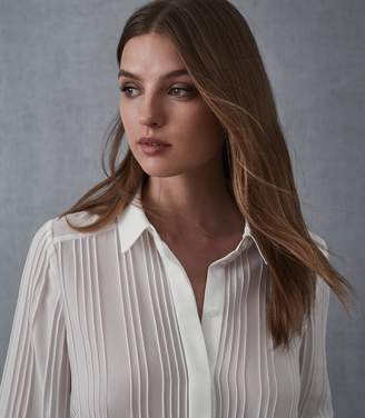 Reiss LULA PIN TUCK DETAILED BLOUSE Ivory