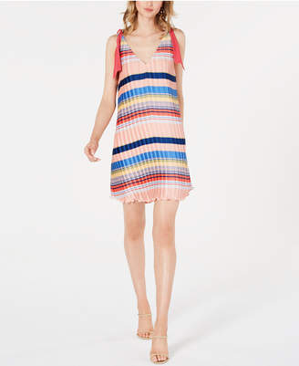 Foxiedox Striped Crinkle-Pleated Dress