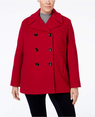 ff64091afef60 Calvin Klein Plus Size Wool-Cashmere-Blend Peacoat