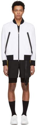 BLACKBARRETT by NEIL BARRETT White Heatseal Pocket Bomber Jacket