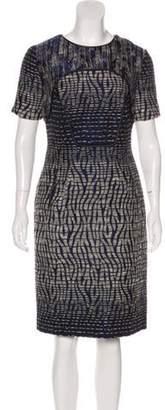 Matthew Williamson Short Sleeve Knee-Length Dress Blue Short Sleeve Knee-Length Dress