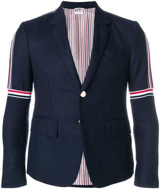 Thom Browne Seam Elastic Stripe High-Armhole Wool Sport Coat